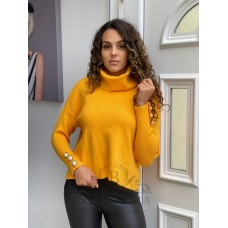 Pulover dama PEARLS YELLOW din tricot